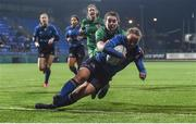 9 December 2017; Michelle Claffey of Leinster scores her side's second try during the Women's Interprovincial Series match between Leinster and Connacht at Donnybrook Stadium in Dublin. Photo by David Fitzgerald/Sportsfile
