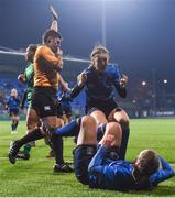 9 December 2017; Michelle Claffey of Leinster is congratulated by team mate Megan Williams after scoring her side's second try during the Women's Interprovincial Series match between Leinster and Connacht at Donnybrook Stadium in Dublin. Photo by David Fitzgerald/Sportsfile