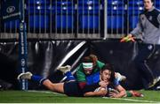 9 December 2017; Aimee Clarke of Leinster scores her side's first try during the Women's Interprovincial Series match between Leinster and Connacht at Donnybrook Stadium in Dublin. Photo by David Fitzgerald/Sportsfile