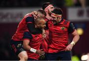9 December 2017; Simon Zebo is congratulated by his Munster team-mates, from left, Andrew Conway, Jean Kleyn and Billy Holland after scoring their second try during the European Rugby Champions Cup Pool 4 Round 3 match between Munster and Leicester Tigers at Thomond Park in Limerick. Photo by Stephen McCarthy/Sportsfile