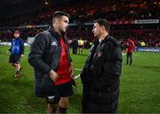 9 December 2017; Conor Murray of Munster and Ben Youngs of Leicester Tigers in conversation after the European Rugby Champions Cup Pool 4 Round 3 match between Munster and Leicester Tigers at Thomond Park in Limerick. Photo by Diarmuid Greene/Sportsfile