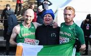 10 December 2017; Kevin Maunsell and Sean Tobin of Ireland with their coach Niall O'Sullivan from Clonmel after competing in the Senior Men's event during the European Cross Country Championships 2017 at Samorin in Slovakia. Photo by Sam Barnes/Sportsfile