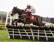 10 December 2017; Getabird, with Paul Townend up, jump the last on their way to winning the Corinthian Restaurant On Sale Now Maiden Hurdle at Punchestown Racecourse in Naas, Co Kildare. Photo by Cody Glenn/Sportsfile
