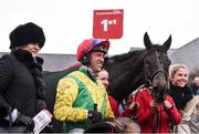 10 December 2017; Trainer Jessica Harrington with jockey Robbie Power and horse Sizing John in the winner's enclosure after winning the John Durkan Memorial Punchestown Steeplechase (Grade 1) at Punchestown Racecourse in Naas, Co Kildare. Photo by Cody Glenn/Sportsfile