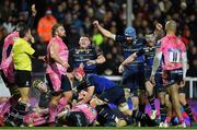 10 December 2017; Leinster players celebrate a try scored by Jack Conan, hidden, and signalled by Referee Romain Poite during the European Rugby Champions Cup Pool 3 Round 3 match between Exeter Chiefs and Leinster at Sandy Park in Exeter, England. Photo by Brendan Moran/Sportsfile