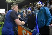 10 December 2017; Tadhg Furlong of Leinster celebrates with supporters after the European Rugby Champions Cup Pool 3 Round 3 match between Exeter Chiefs and Leinster at Sandy Park in Exeter, England.  Photo by Brendan Moran/Sportsfile