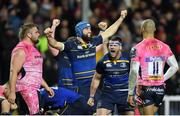 10 December 2017; Fergus McFadden, right, and Scott Fardy of Leinster celebrate the try of team-mate Jack Conan during the European Rugby Champions Cup Pool 3 Round 3 match between Exeter Chiefs and Leinster at Sandy Park in Exeter, England.  Photo by Brendan Moran/Sportsfile