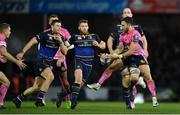 10 December 2017; Nic White of Exeter Chiefs drops a pass under pressure from Leinster players, from left, Robbie Henshaw, Sean O'Brien and Devin Toner during the European Rugby Champions Cup Pool 3 Round 3 match between Exeter Chiefs and Leinster at Sandy Park in Exeter, England.  Photo by Brendan Moran/Sportsfile