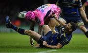 10 December 2017; Rob Kearney of Leinster hits the ground after contesting possession with Jack Nowell of Exeter Chiefs during the European Rugby Champions Cup Pool 3 Round 3 match between Exeter Chiefs and Leinster at Sandy Park in Exeter, England.  Photo by Brendan Moran/Sportsfile