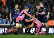 10 December 2017; Jack McGrath of Leinster is tackled by Jonny Hill, left, and Don Armand of Exeter Chiefs during the European Rugby Champions Cup Pool 3 Round 3 match between Exeter Chiefs and Leinster at Sandy Park in Exeter, England.  Photo by Brendan Moran/Sportsfile