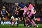 10 December 2017; Devin Toner of Leinster is tackled by Matt Kvesic and Jack Yeandle of Exeter Chiefs during the European Rugby Champions Cup Pool 3 Round 3 match between Exeter Chiefs and Leinster at Sandy Park in Exeter, England.  Photo by Brendan Moran/Sportsfile