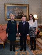 11 December 2017; Dublin's Noelle Healy is welcomed by the President of Ireland Michael D Higgins and his wife Sabina during the Dublin Senior Men's and Ladies Football squads visit to Áras an Uachtaráin in Phoenix Park, Dublin. Photo by Piaras Ó Mídheach/Sportsfile