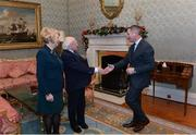 11 December 2017; Dublin football manager Jim Gavin is welcomed by the President of Ireland Michael D Higgins and his wife Sabina during the Dublin Senior Men's and Ladies Football squads visit to Áras an Uachtaráin in Phoenix Park, Dublin. Photo by Piaras Ó Mídheach/Sportsfile