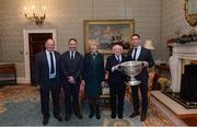 11 December 2017; Dublin representatives, from left, Seán Shanley, chairman, Jim Gavin, manager, and Stephen Cluxton, captain, are welcomed by the President of Ireland Michael D Higgins and his wife Sabina during the Dublin Senior Men's and Ladies Football squads visit to Áras an Uachtaráin in Phoenix Park, Dublin.  Photo by Piaras Ó Mídheach/Sportsfile