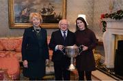 11 December 2017; Dublin ladies football captain Sinéad Aherne is welcomed by the President of Ireland Michael D Higgins and his wife Sabina during the Dublin Senior Men's and Ladies Football squads visit to Áras an Uachtaráin in Phoenix Park, Dublin. Photo by Piaras Ó Mídheach/Sportsfile