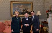 11 December 2017; Dublin coach Jason Sherlock is welcomed by the President of Ireland Michael D Higgins and his wife Sabina during the Dublin Senior Men's and Ladies Football squads visit to Áras an Uachtaráin in Phoenix Park, Dublin. Photo by Piaras Ó Mídheach/Sportsfile