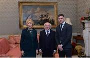 11 December 2017; Dublin's Paddy Andrews is welcomed by the President of Ireland Michael D Higgins and his wife Sabina during the Dublin Senior Men's and Ladies Football squads visit to Áras an Uachtaráin in Phoenix Park, Dublin.  Photo by Piaras Ó Mídheach/Sportsfile