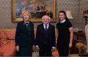 11 December 2017; Dublin's Leah Caffrey is welcomed by the President of Ireland Michael D Higgins and his wife Sabina during the Dublin Senior Men's and Ladies Football squads visit to Áras an Uachtaráin in Phoenix Park, Dublin. Photo by Piaras Ó Mídheach/Sportsfile
