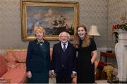 11 December 2017; Dublin's Sinéad Finnegan is welcomed by the President of Ireland Michael D Higgins and his wife Sabina during the Dublin Senior Men's and Ladies Football squads visit to Áras an Uachtaráin in Phoenix Park, Dublin. Photo by Piaras Ó Mídheach/Sportsfile