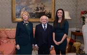 11 December 2017; Dublin's Niamh McEvoy is welcomed by the President of Ireland Michael D Higgins and his wife Sabina during the Dublin Senior Men's and Ladies Football squads visit to Áras an Uachtaráin in Phoenix Park, Dublin. Photo by Piaras Ó Mídheach/Sportsfile