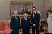 11 December 2017; Dublin's Mark Schutte is welcomed by the President of Ireland Michael D Higgins and his wife Sabina during the Dublin Senior Men's and Ladies Football squads visit to Áras an Uachtaráin in Phoenix Park, Dublin. Photo by Piaras Ó Mídheach/Sportsfile