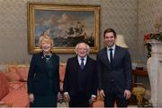 11 December 2017; Dublin backroom staff member Daniel Davey is welcomed by the President of Ireland Michael D Higgins and his wife Sabina during the Dublin Senior Men's and Ladies Football squads visit to Áras an Uachtaráin in Phoenix Park, Dublin. Photo by Piaras Ó Mídheach/Sportsfile