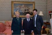 11 December 2017; Dublin's Eric Lowndes is welcomed by the President of Ireland Michael D Higgins and his wife Sabina during the Dublin Senior Men's and Ladies Football squads visit to Áras an Uachtaráin in Phoenix Park, Dublin. Photo by Piaras Ó Mídheach/Sportsfile