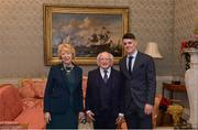 11 December 2017; Dublin's Brian Howard is welcomed by the President of Ireland Michael D Higgins and his wife Sabina during the Dublin Senior Men's and Ladies Football squads visit to Áras an Uachtaráin in Phoenix Park, Dublin. Photo by Piaras Ó Mídheach/Sportsfile