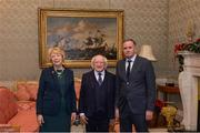 11 December 2017; David Hendrick is welcomed by the President of Ireland Michael D Higgins and his wife Sabina during the Dublin Senior Men's and Ladies Football squads visit to Áras an Uachtaráin in Phoenix Park, Dublin. Photo by Piaras Ó Mídheach/Sportsfile