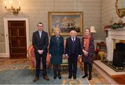 11 December 2017; Finbarr and Eva O'Mahony are welcomed by the President of Ireland Michael D Higgins and his wife Sabina during the Dublin Senior Men's and Ladies Football squads visit to Áras an Uachtaráin in Phoenix Park, Dublin. Photo by Piaras Ó Mídheach/Sportsfile