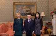 11 December 2017; Rebecca Claffey is welcomed by the President of Ireland Michael D Higgins and his wife Sabina during the Dublin Senior Men's and Ladies Football squads visit to Áras an Uachtaráin in Phoenix Park, Dublin. Photo by Piaras Ó Mídheach/Sportsfile