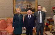 11 December 2017; John Gillick is welcomed by the President of Ireland Michael D Higgins and his wife Sabina during the Dublin Senior Men's and Ladies Football squads visit to Áras an Uachtaráin in Phoenix Park, Dublin. Photo by Piaras Ó Mídheach/Sportsfile