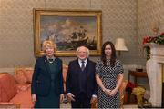 11 December 2017; Louise Kidd is welcomed by the President of Ireland Michael D Higgins and his wife Sabina during the Dublin Senior Men's and Ladies Football squads visit to Áras an Uachtaráin in Phoenix Park, Dublin. Photo by Piaras Ó Mídheach/Sportsfile