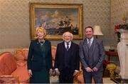 11 December 2017; Leo Neary is welcomed by the President of Ireland Michael D Higgins and his wife Sabina during the Dublin Senior Men's and Ladies Football squads visit to Áras an Uachtaráin in Phoenix Park, Dublin. Photo by Piaras Ó Mídheach/Sportsfile