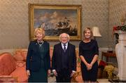 11 December 2017; Denise Daly is welcomed by the President of Ireland Michael D Higgins and his wife Sabina during the Dublin Senior Men's and Ladies Football squads visit to Áras an Uachtaráin in Phoenix Park, Dublin. Photo by Piaras Ó Mídheach/Sportsfile