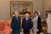 11 December 2017; Ann O'Mahony is welcomed by the President of Ireland Michael D Higgins and his wife Sabina during the Dublin Senior Men's and Ladies Football squads visit to Áras an Uachtaráin in Phoenix Park, Dublin. Photo by Piaras Ó Mídheach/Sportsfile
