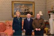 11 December 2017; Paul Gilhealy is welcomed by the President of Ireland Michael D Higgins and his wife Sabina during the Dublin Senior Men's and Ladies Football squads visit to Áras an Uachtaráin in Phoenix Park, Dublin. Photo by Piaras Ó Mídheach/Sportsfile