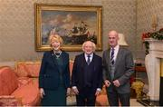 11 December 2017; Padraig O'Toole is welcomed by the President of Ireland Michael D Higgins and his wife Sabina during the Dublin Senior Men's and Ladies Football squads visit to Áras an Uachtaráin in Phoenix Park, Dublin. Photo by Piaras Ó Mídheach/Sportsfile