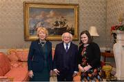 11 December 2017; Sorcha Farrelly is welcomed by the President of Ireland Michael D Higgins and his wife Sabina during the Dublin Senior Men's and Ladies Football squads visit to Áras an Uachtaráin in Phoenix Park, Dublin. Photo by Piaras Ó Mídheach/Sportsfile