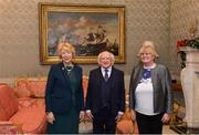 11 December 2017; Mary O'Connor is welcomed by the President of Ireland Michael D Higgins and his wife Sabina during the Dublin Senior Men's and Ladies Football squads visit to Áras an Uachtaráin in Phoenix Park, Dublin. Photo by Piaras Ó Mídheach/Sportsfile