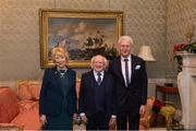 11 December 2017; Tony Towell is welcomed by the President of Ireland Michael D Higgins and his wife Sabina during the Dublin Senior Men's and Ladies Football squads visit to Áras an Uachtaráin in Phoenix Park, Dublin. Photo by Piaras Ó Mídheach/Sportsfile