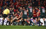 9 December 2017; Jean Kleyn of Munster is held up short of the try line by Valentino Mapapalangi of Leicester Tigers during the European Rugby Champions Cup Pool 4 Round 3 match between Munster and Leicester Tigers at Thomond Park in Limerick. Photo by Diarmuid Greene/Sportsfile