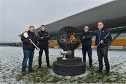 12 December 2017; Wexford manager Davy Fitzgerald, left, with, from left, Kilkenny selector Derek Lyng, Offaly Manager Kevin Martin and Dublin selector and coach Anthony Cunningham at the launch of the Bord na Móna Leinster GAA series at Bord na Móna O'Connor Park, Tullamore, Co Offaly. The Bord na Móna Leinster Series comprises of the Bord na Móna O'Byrne Cup, Bord na Móna Walsh Cup and the Bord na Móna Kehoe Cup. Photo by Matt Browne/Sportsfile