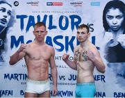 12 December 2017; Ted Cheeseman, left, and Tony Dixon square off after weighing in at the Courthouse Hotel in Shoreditch, London, ahead of their super welterweigh bout. Photo by Stephen McCarthy/Sportsfile