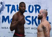 12 December 2017; Lawrence Okolie, left, and Antonio Sousa square off after weighing in at the Courthouse Hotel in Shoreditch, London, ahead of their cruiseweight bout. Photo by Stephen McCarthy/Sportsfile
