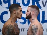 12 December 2017; Conor Benn and Cedrick Peynaud square off after their weigh in at the Courthouse Hotel in Shoreditch, London, ahead of their welterweight bout. Photo by Stephen McCarthy/Sportsfile