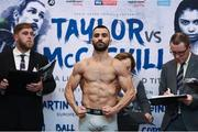12 December 2017; Juli Giner weighs in at the Courthouse Hotel in Shoreditch, London, ahead of his vacant European Super Featherweight Title bout against Martin Ward. Photo by Stephen McCarthy/Sportsfile