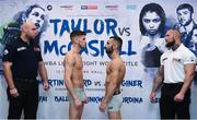 12 December 2017; Martin Ward, left, and Juli Giner square off after weighing in at the Courthouse Hotel in Shoreditch, London, ahead of their vacant European Super Featherweight Title bout. Photo by Stephen McCarthy/Sportsfile