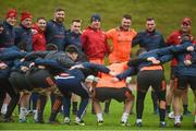 12 December 2017; Munster players including Jack O'Donoghue, Brian Scott, Dave Johnston, Darren O'Shea, Rory Scannell, CJ Stander, Peter O'Mahony, Tommy O'Donnell, and Tyler Bleyendaal during Munster Rugby squad training at the University of Limerick in Limerick. Photo by Diarmuid Greene/Sportsfile