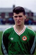 22 May 1991; Roy Keane of Republic of Ireland ahead of his debut against Chile. Lansdowne Road, Dublin. Photo by David Maher / SPORTSFILE